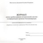 Журнал учета срабатывания (отключения) систем и информации органов Госпожнадзора